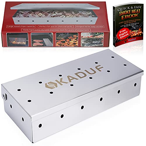 Kaduf Smoker Box for Gas Grill or Charcoal BBQ, Smoke Box Made of Stainless Steel - Hinged Lid For Easy Access – Suited To All Meat Types - Intense Smoke Flavor With Any Wood Chips - Comes With Recipe E-book