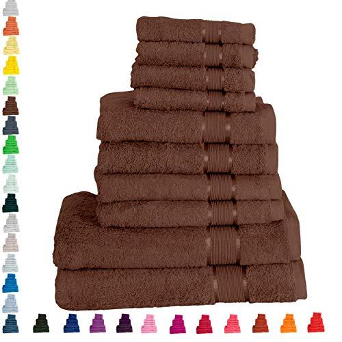 Mixibaby Handtuch 10er Set 2X Duschtuch 4X Handtuch 4X Gästetuch 100% Baumwolle Frottee, Farbe:Dunkelbraun