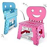 Helperfect® Silla infantil plegable 2 en 1 y taburete con respaldo. Taburete estable, asiento seguro, fácil de usar. Perfecto también para cocina o baño (rosa).