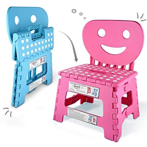 Helperfect® 2in1 Klappbarer Kinderstuhl & Tritthocker mit Rückenlehne - Stabiler Tritt, Sicherer Sitz, Kinderleichte Handhabung - Perfekt auch für Küche oder Bad (Pink)