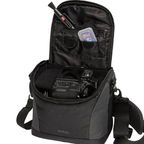 Rivacase M107229_black camera-foto/schoudertas met paars gevoerde binnenvoering voor DSLR spiegelreflex camera en accessoires zwart/grijs
