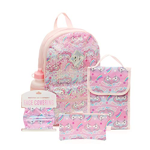 6 Pc. Sequin Girls Backpack Set, 16 inch, w/Washable Cloth Kids Face Mask, Lunch Bag, Pencil Case (Pink Unicorn Magic)