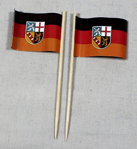 Buddel-Bini Party-Picker Flagge Saarland Papierfähnchen in Profiqualität 50 Stück 8 cm Offsetdruck Riesenauswahl aus eigener Herstellung