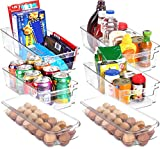 Utopia Home Set of 6 Pantry Organizers-Includes 4 Drawers & 2 Egg Holding Trays-Egg Tray holder with Lid-Holds 21 eggs-Pantry Storage Bins For Freezers, Countertops and Cabinets