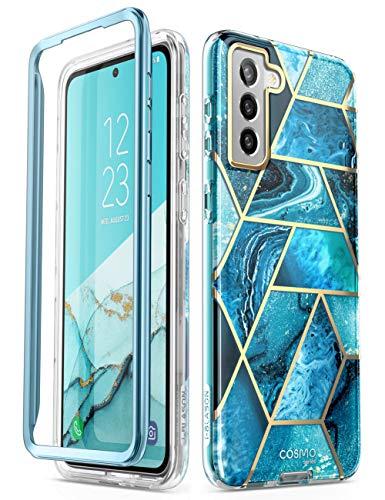 i-BLASON Galaxy S21 [SC-01B SCG09] 5G ケース フレームとケースの二重構造 米国軍事規格取得 女性向け おしゃれ 耐衝撃 綺麗 かわいい [Cosmo] 海ブルー