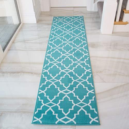 Geometric Trellis Runner Rug Blue Grey Mustard Triangle Rugs Hallway Bedroom Living Room Kitchen