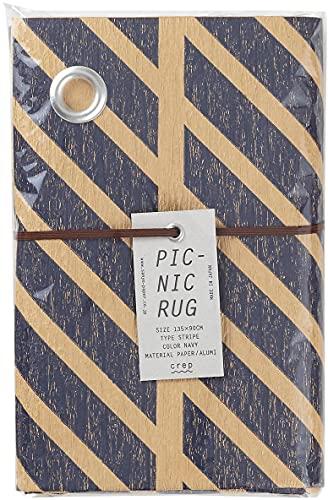 山陽製紙 レジャー シート キャンプ アウトドア ピクニック ラグ 用品 135×90cm 撥水 日本製 北欧 crep STRIPE ネイビー Mサイズ