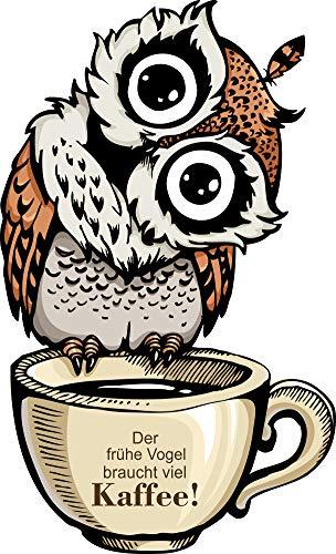 greenluup Wandsticker Wandaufkleber der frühe Vogel braucht viel Kaffee Küche Wanddeko (Kaffee Braun)