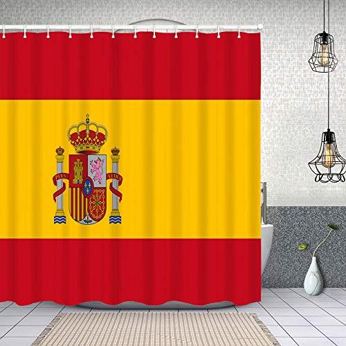Cortina de Baño con 12 Ganchos,Bandera española roja de España Armas Dimensiones precisas Proporciones y Colores Oficial Amarillo,Cortina Ducha Tela Resistente al Agua para baño,bañera 150X180cm