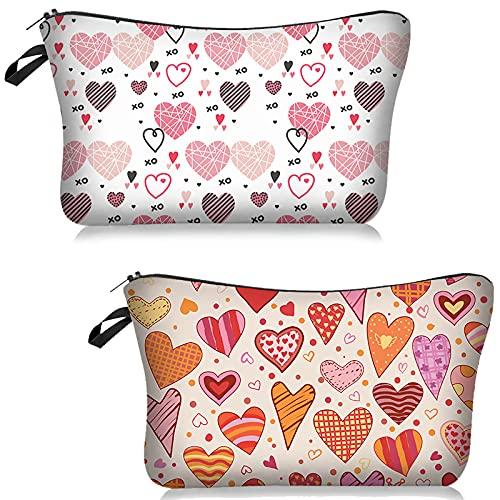 ASFINS Kosmetiktasche Klein für Handtasche, 2 Stücke Schminktäschchen Klein Kulturtasche, Täschchen mit Reißverschluss für Schreibwaren, Multifunktional, für Reisen (22cm x 13,5cm)