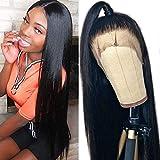 Maxine 360 Encaje Frontal Pelucas Natural Recto Brasileño Virgen Remy Cabello humano peluca con el pelo del bebé para las mujeres negras 18 pulgadas Color Natural 180% Densidad 18 pulgadas