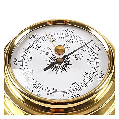 FSLLOVE FANGSHUILIN 4 Teile/Satz Thermometer Hygrometer Barometer Uhr Uhr Kupferschale Zirkonium Marine Fit für Wetterstation 4 Zoll