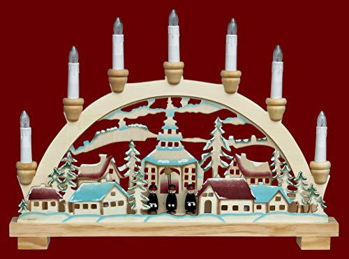 yanka-style Schwibbogen Lichterbogen Leuchter Seiffen 10flammig innenbeleuchtet ca. 45 cm breit Natur/farbig Weihnachten Advent Geschenk Dekoration (83151)