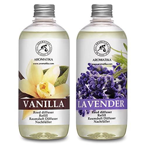 Set de Recarga para Difusor con Aceite Esencial Vanille 500ml y Lavanda 500ml - Relleno Difusor - Difusores Aromáticos - Ambientador - Fragancia para la Habitación - Difusor Perfumado