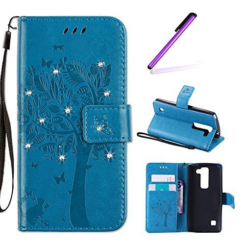 EMAXELERS Funda LG Spirit 4G H440 Caso Premium PU Cuero Cartera para Tarjetas y Cierre Magnetico Soporte Plegable Funda para LG Spirit 4G Blue Wishing Tree with Diamond
