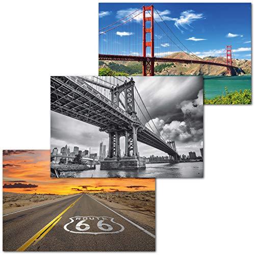 GREAT ART Set di 3 Poster XXL - Attrazioni Turistiche in America - Route 66 Golden Gate Manhattan Bridge Highway Ponte Città Decorazione Interni Murale cadauno 140 x 100 cm