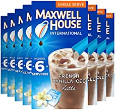Maxwell House International French Vanilla Iced Latte Café-Style Single Serve Instant Coffee Beverage Mix, 48 ct., 8 boxes of 6