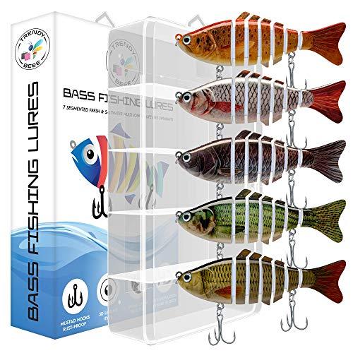 TRENDYBEEE Icaru Fishing Lure 7-Segmented Stripe Bass Lure  Multijointed Moto Chugs Lures Macro Animated Fishing Bait Lures with 3D Eyes-Bull Shad Swimbaits