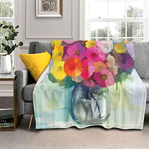 Bed Blanket Freshly Picked Flowers Flannel Fleece Luxury Blanket to Improve Your Sleep 50 x 60 Inch
