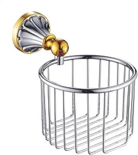 ZZLX 紙タオルホルダー、ヨーロッパスタイルのアンティークゴールド白バスルームトイレットペーパータオル棚 ロングハンドル風呂ブラシ (色 : Gold+chrome)