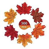 XCOZU 300 Piezas Hojas Artificiales de Arce otoñal, 6 Colores Mezclados Hojas de otoño Falsas para Bodas, Festivales de Arte, Manualidades, Decoraciones de Fiesta