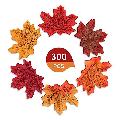 XCOZU 300 Pezzi Foglie di Acero Autunnali Artificiali, 6 Colori Misti Foglie Autunnali Finte Artificiali per Decorazione per Matrimoni, Feste artistiche, Fai da Te