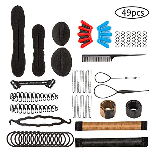 Farram 49pcs Magic Hair Styling Set - Bun Maker,DIY Hair Design Styling Tools Accessories,Hair Braiding Tool Suitable For Women,Girls,Ballet,Wedding,Yoga,Party Style,Dance