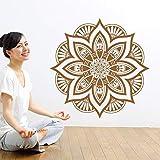 YuanMinglu Mandala Flor Etiqueta de la Pared Decorativa Bohemia India Dormitorio Redondo Vinilo Etiqueta Decoración del hogar Mural Marrón 57x57cm