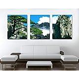 3ピースランドスケープキャンバスプリントクラウドトップヒルズ絵画キャンバス上の家の装飾モダンキャンバスアートリビングルーム用(40x60cmフレームなし)