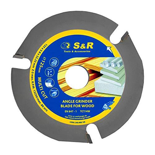 S&R Hartmetall Trennscheibe 125 mm x 3.8 mm x 22,23 mm, Sägeblatt für Winkelschleifer, 3T TCT HW Hartmetall Zähne, Trennscheibe für Holz, Kunststoff, Gipskarton, Aerocrete