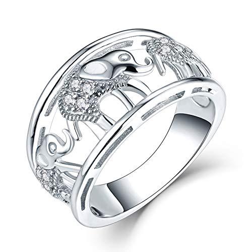 JO WISDOM Mujer Anillo de Compromiso de Plata de Ley 925,Anillo Elefante Suerte Amuleto Animal con Circonita AAA