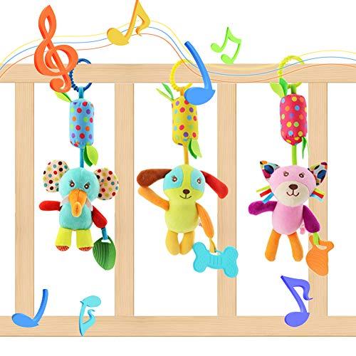Lanero Baby Spielzeug 3 Packs Kinderwagen Spielzeug Kinderbett Anhänge Cartoon Tier hängen Rassel Kleinkind Spielzeug weiche Flock Stoff mit Klingel Glocke