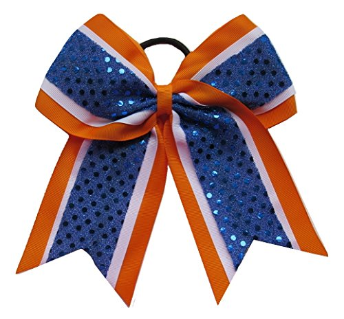 New'CONFETTI DOTS Orange Blue' Cheer Bow Pony Tail 3' Ribbon Girls Hair Bows Cheerleading Dance Practice Football Games Competition Birthday