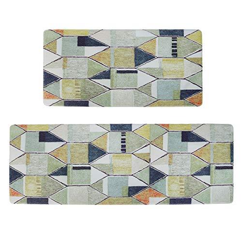 HAVARGO Kitchen Rugs and Mats Non-Slip 2 Pieces Kitchen Mats for Floor Waterproof Anti Fatigue Comfort Cushioned Kitchen Floor Mat(17.7' x 29.5' + 17.7' x 47') Geometric