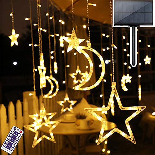 Star Solar Lights Outdoor,Solar Powered Curtain Lights,Window Lights,Solar Led String Lights Twinkle Star Moon Fairy Lights for Outdoor Garden Patio Landscape Home Christmas Holiday Decoration