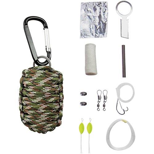 COM-FOUR ® para Cord Survival Kit in Bianco, Marrone, Verde, set di sopravvivenza per campeggio, arrampicata o altre attività all' aria aperta