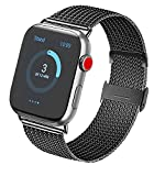 Vanjua Metal Correa Compatible con Apple Watch Correa 44mm 42mm 38mm 40mm,Pulsera de Repuesto de Inoxidable Correa para iWatch Series 5 4 3 2 1,Mujer y Hombre (38mm/40mm, 02 Negro)
