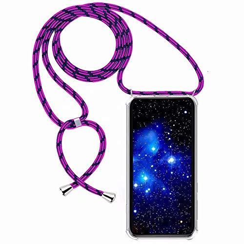 Bigcousin Funda con Cuerda Compatible con Samsung Galaxy A10,Transparente de TPU con Ajustable Collar Cadena Cordón,Violeta