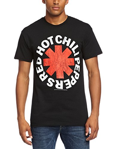 CID Red Hot Chili Peppers-Distressed Asterisk Camiseta, Schwarz - Black, XXL para Hombre