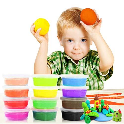 Samione Knete Kinder, Springknete / Hüpfknete für Kinder / Knete Bunt Set, Kinderspielzeug Kinderknete, Schönes Mitgebsel zum Geburtstag-12 Farben