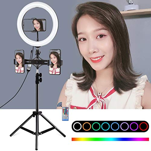 XUJINQI horizontale houder voor fototoestel 10 inch 26 cm statief + LED-ring, Vlogging Video Light Direct Kit met afstandsbediening (zwart), zwart.