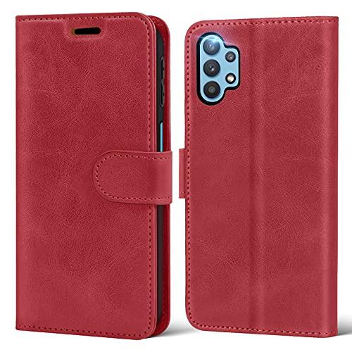 ivencase Vintage Hülle Kompatibel mit Samsung Galaxy A32 5G, Premium PU Leder Folio Hülle Etui mit Standfunktion Kartensteckplätzen Schutzhüll für Samsung Galaxy A32 5G Flip Lederhülle –Wein Rot
