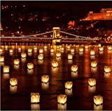Diagtree 20 PCS Biodegradable 5.9-inch Floating Water Candle Chinese Paper Lanterns for Wishing Praying Blessing Wedding Festival Event Party Patio Memorial Pool Side Decoration (20 Pack)