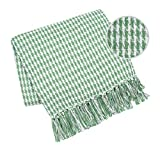 Elvana Home Throw Blanket for Couch Sofa Chair Bed Outdoor 50x60, 100% Cotton Throw Blanket for Adults and Kids, All Season Farmhouse Vintage Houndstooth Throw Blanket with Fringes, Green