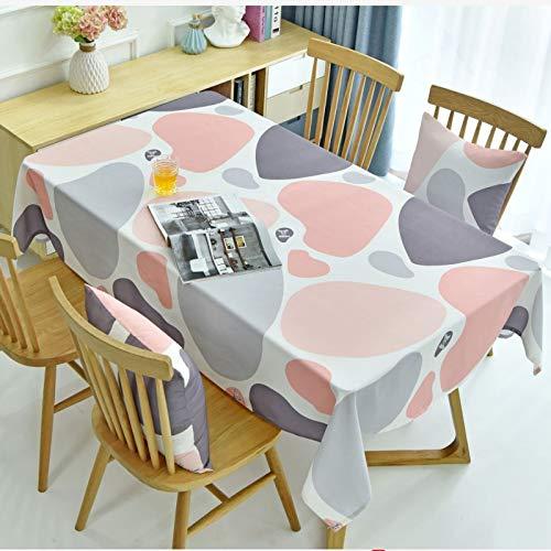 LSSM Tovaglia da Tavolino Impermeabile con personalità in Tessuto Semplice E Moderna Compleanno Tovaglia Tavolo Vetro Tovaglia in Pizzo Rettangolare Tovaglia Resinata Rosa 130 * 250Cm