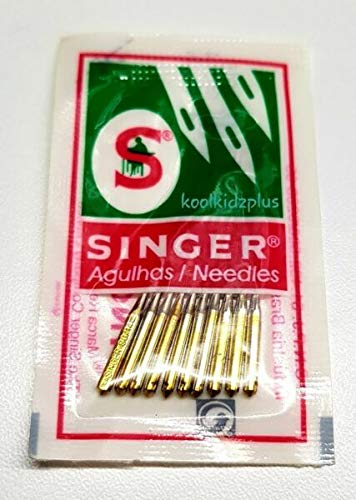 PANAMI Suministros para paquete de 10 agujas de punta de bola para máquina de coser Singer tamaño 9014 banda dorada elástica DIY para máquinas de coser y accesorios