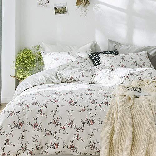 Cottage Country estilo 3piezas Juego de funda de edredón de rosas ramo de peonías Multicolor 100% algodón shabby chic diseño reversible ropa de cama