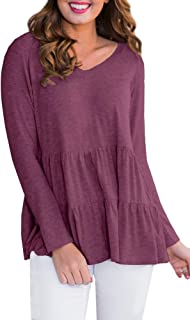 For G and PL Women Peplum Hem Long Sleeve Tops