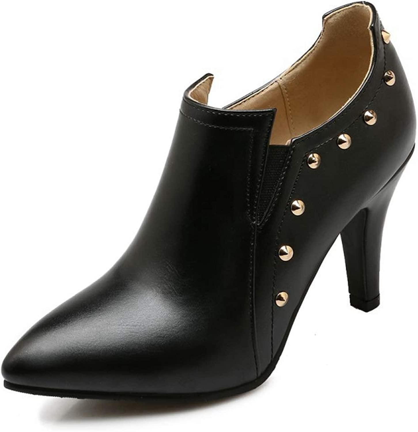 CYBLING Womens Cutout Studded High Heel Booties Slip on Pointed Toe Pumps Winter Ankle Boots