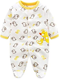 JIAMY Baby Strampler Schlafanzug Footies Kleinkinder Warm Jumpsuit Neugeborenes Vlies Langarm Overall Outfits Ente Muster 0-3 Monate
